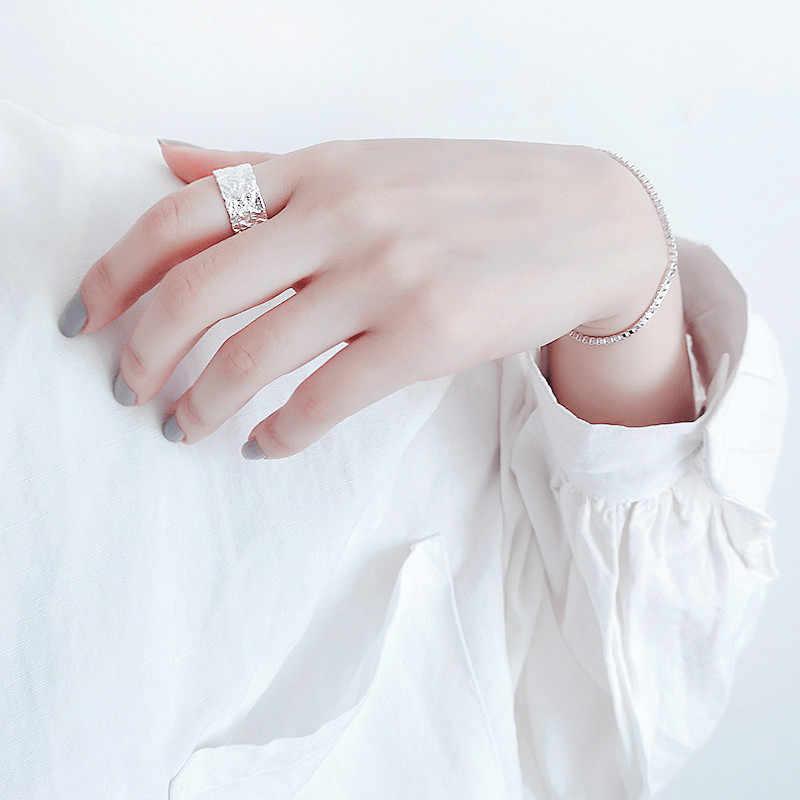2019 echt Silber Farbe Große Beule Unregelmäßigen Geometrische Ringe Für Frauen Erklärung Schmuck Finger Ring anillos mujer bijoux