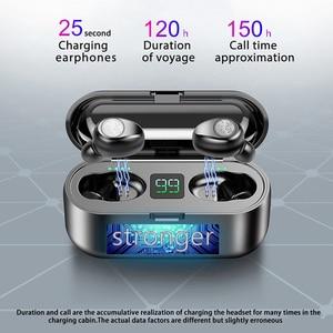 Image 3 - BluetoothワイヤレスイヤホンF9 twsイヤホンスポーツヘッドフォン低音ノイズキャンセルヘッドセット型充電ボックス
