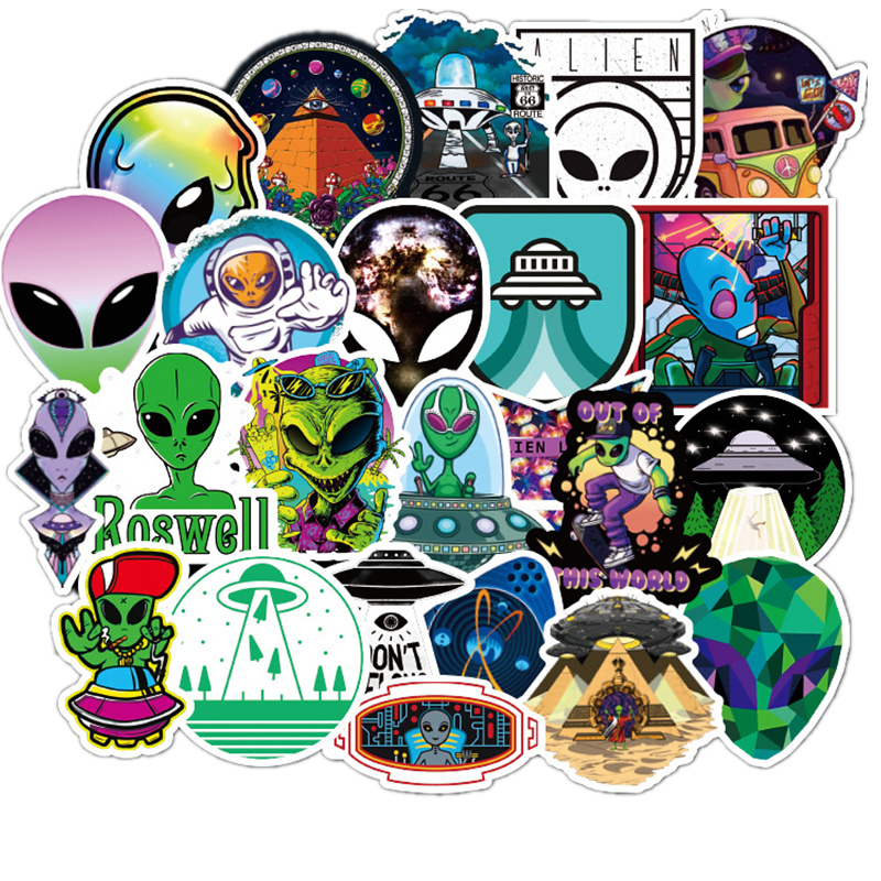 50Pcs/Set ET Graffiti <font><b>Stickers</b></font> Alien <font><b>UFO</b></font> <font><b>Stickers</b></font> For DIY Luggage Suitcase Laptop Motorcyle Car Pegatinas image