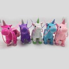 Милый Единорог, кукла, поводок, летающая лошадь, может ходить, может петь, плюшевые куклы для электрического единорога, плюшевые игрушки для детей, подарки на день рождения, детские игрушки