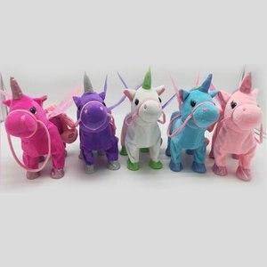 Lindo unicornio muñeca Correa caballo volador puede caminar puede cantar muñecas de felpa para eléctrico Peluche de unicornio juguete niño regalos de cumpleaños chico Juguetes