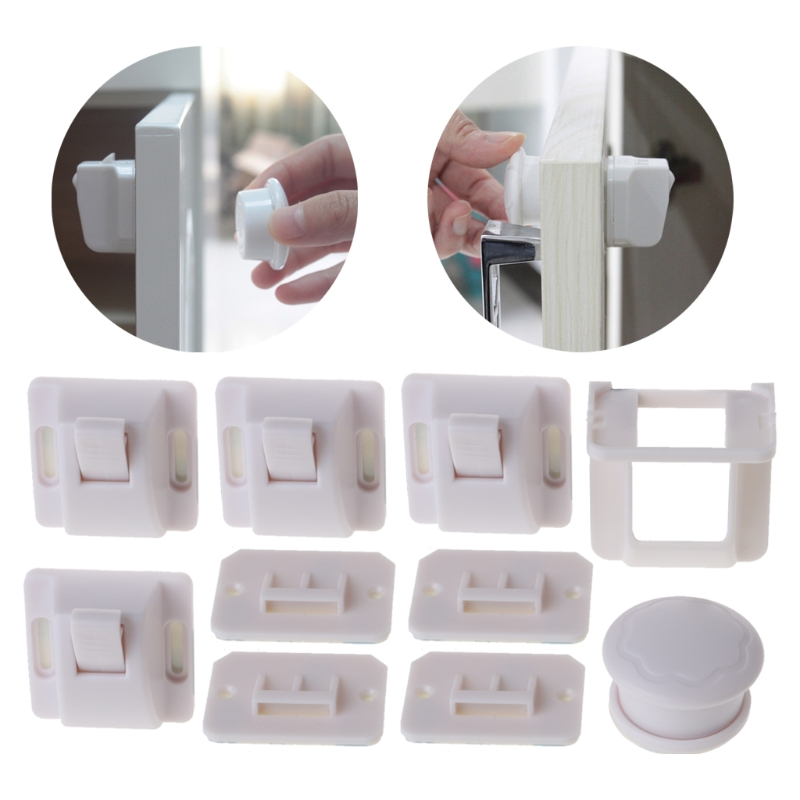 4Pcs Children Magnetic Invisible Lock Baby Kids Cupboard Lock Drawer Safe Lock