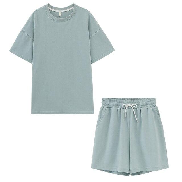 Chándales de verano toppies, conjunto de dos piezas para mujer, ropa de ocio, camisetas de algodón de gran tamaño, pantalones cortos de cintura alta, ropa de color caramelo