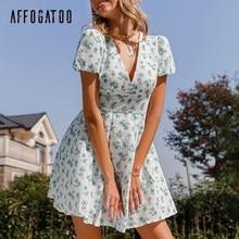 Affogatoo a-ligne impression florale robe de plage femmes taille haute manches bouffantes mini robes d'été col en v boutons robe vintage dames