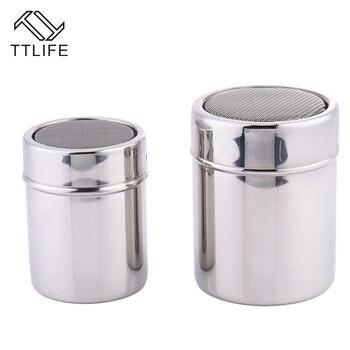 TTLIFE New 1Pc Stainless Steel Sprinkle Cocoa Cinnamon Sugar Gauze Mesh Jar Seasoning Bottle Fancy Coffee Powder Duster 3