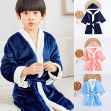 Детские пижамы для мальчиков и девочек длинный халат для сна Милая Ночная рубашка, новая плотная детская ночная рубашка осенне-зимний фланелевый банный халат с капюшоном, пижамы