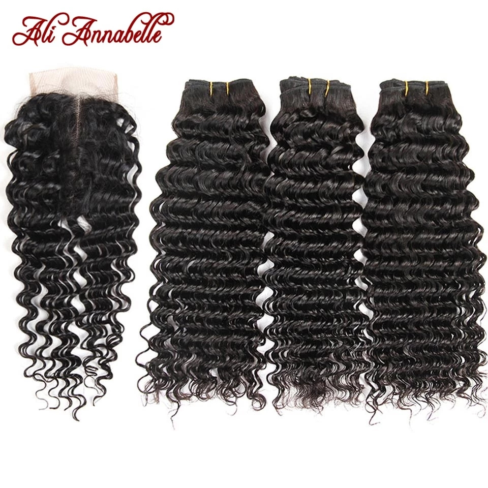 Ali annabelle pacotes de onda profunda com fecho de cabelo humano pacotes com fecho cabelo brasileiro tecer pacotes com fechamento de renda hd