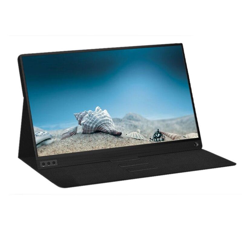 P15A moniteur Portable 1920X1080 HD IPS 15.6 pouces écran ordinateur moniteur LED avec étui en cuir pour PS4/Xbox/téléphone/jeu/caméra