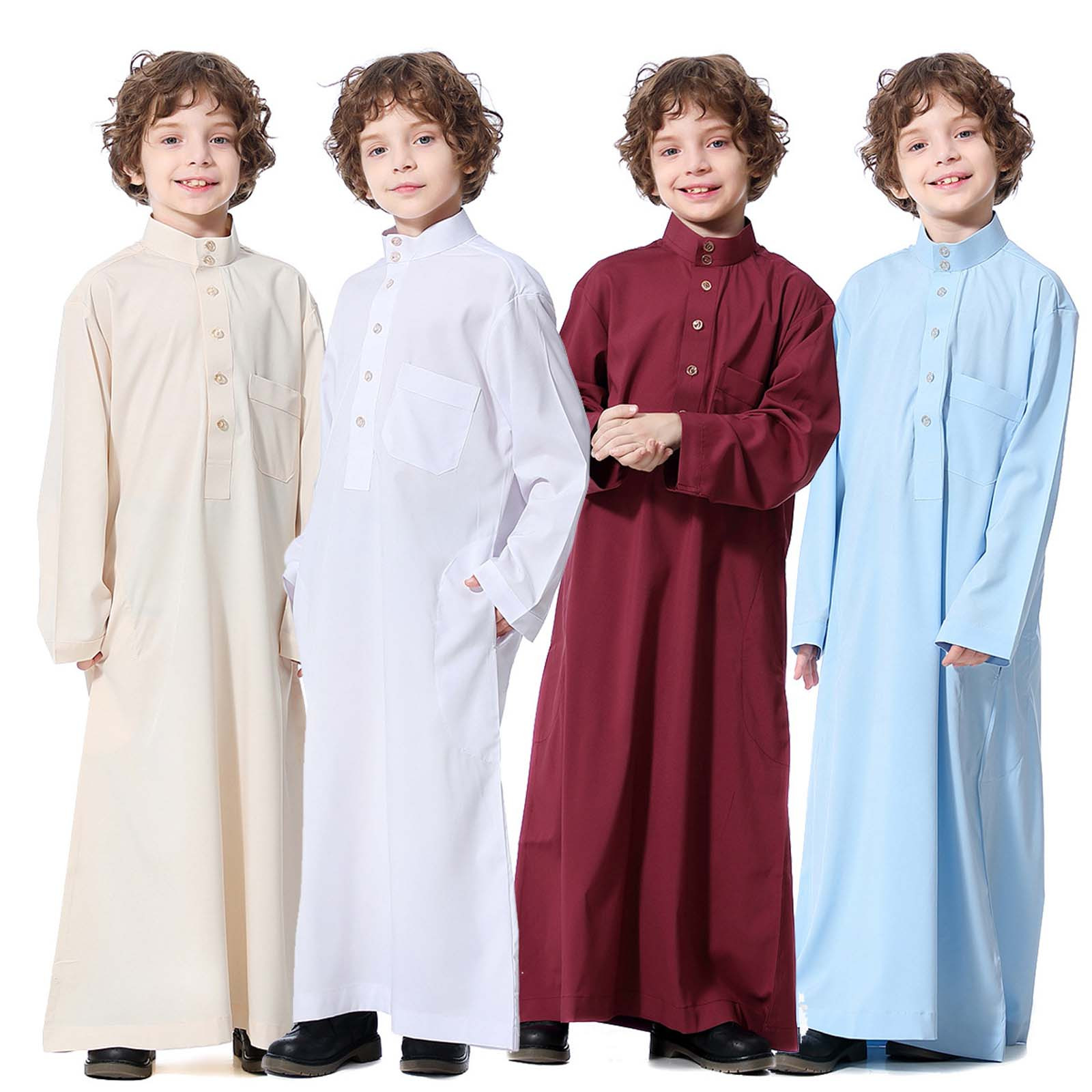 New Spring Autumn Chinese Style Kids Long Trench Coats Boys Middle Muslim Pure Fashion Dresses Long Topcoats Comfortable Blouse