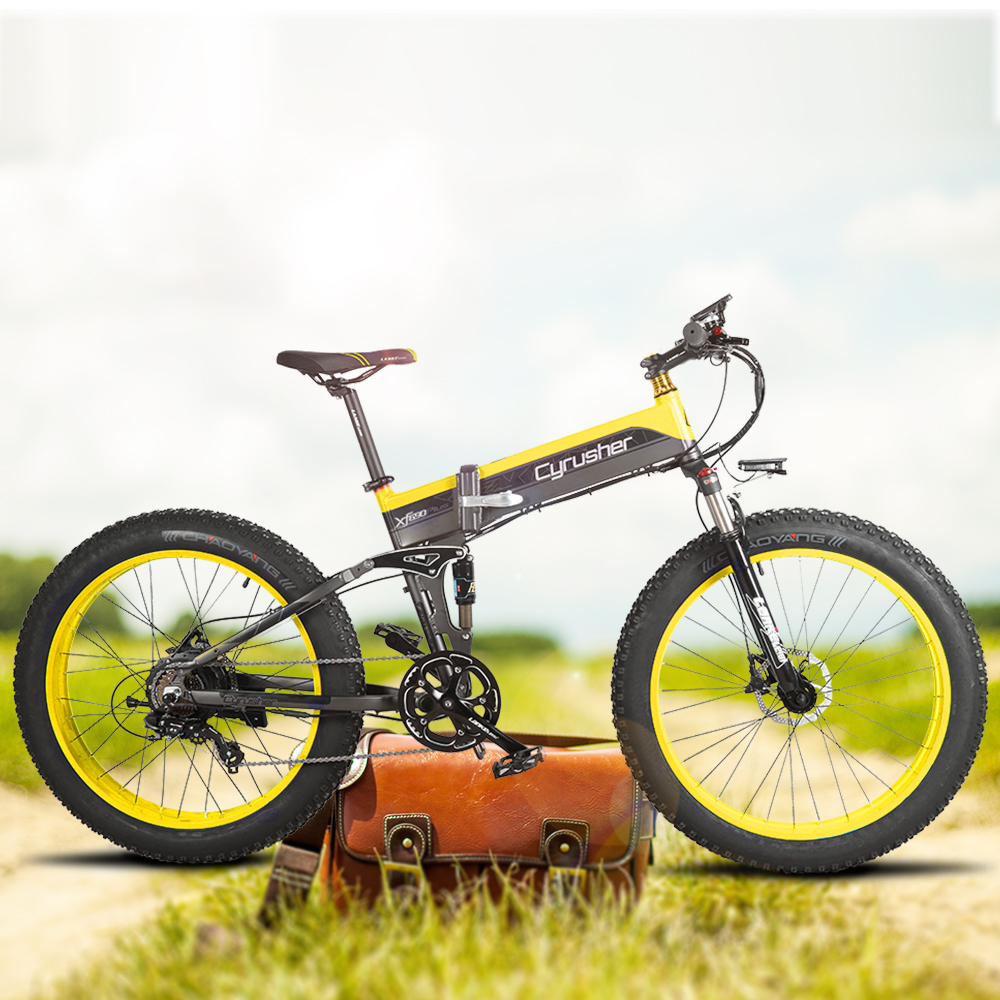 Cyrusher Cruiser Folding Electric Bike XF690 500W 48V 10A electronic Fat tire E Bike Full Suspension 7 Speed electric Bicycle