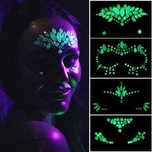 Calavera Mexicana Face Crystal Stickers Luminous Eye Glitter Tatuaje temporal