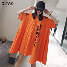 XITAO Plus Size Irregular Letter Pleated T Shirt Women Clothes 2020 Summer New Fashion Loose Pullover Match All Long Tee DMY4122