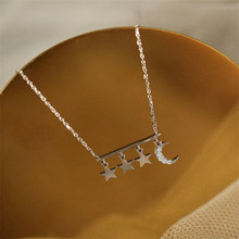 925 sterling silver Pendant necklace Personality elegant tassel moon stars Set auger Womens fashion jewelry