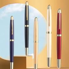 Jinhao Shine Platinum Steel Fountain Pens Luxury Brand Metal Silver Fine Hooded Nib 0.38mm Writing Ink Pen for School Office