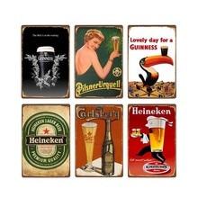 Cartel de cerveza Vintage Metal estaño Bar Pub Club hombre cueva pared placas decorativas Retro placa decoración del hogar 20x30cm