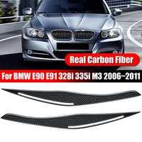 2pcs/set Headlight Eyelid Eyebrow Cover Real Carbon Fiber Trim for BMW E90 E91 328i 335i M3 2006 2011 Front Eyebrows Stickers