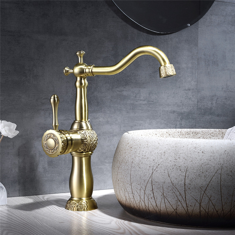 Basin Faucets Antique Brass Carved Bathroom Sink Faucet Single Handle Hole Deck Vintage Wash Hot and Cold Mixer Taps Crane