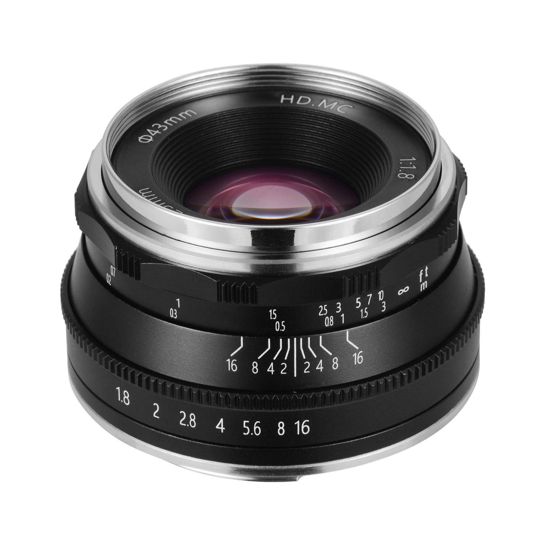 Objectif à mise au point manuelle Andoer 25mm F1.8 grande ouverture Compatible avec les objectifs des appareils photo Fuji fx-mount/M43-Mount/EOS m-mount/sans miroir
