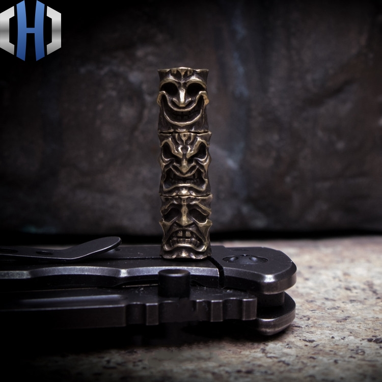 Original Smile Face Angry Face Knife Beads Pendant Handmade Key Pendant Outdoor EDC Copper Survival Paracord Beads