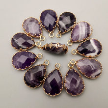 Fashion 12pcs Amethysts natural Stone Gold plating metal connectors for jewelry making Charm Bracelet accessories wholesale(China)