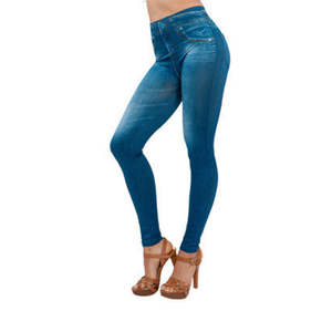 Stretch Jeans Pencil-Pants Tight And Without Autumn Slim Washed Blue Deformation Do-Not-Fade