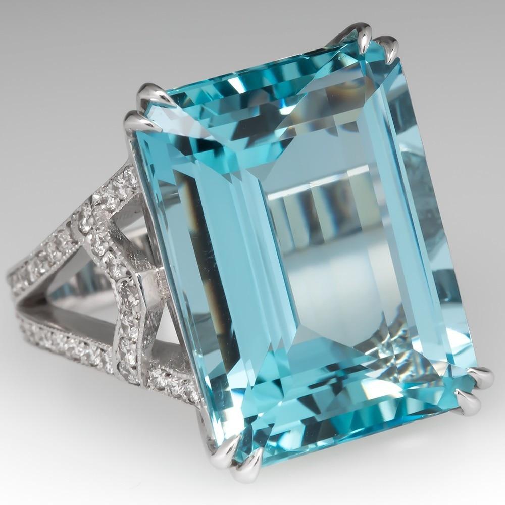 Princess square blue ctystal topaz aquamarine gemstones elegant rings women white gold silver color jewelry bague gifts fashion