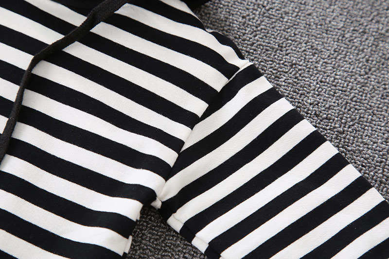 Winter Long Sleeves T-shirt With Hats Child Pants 2pcs Striped Toddler Boy Clothes Children's Sets 4