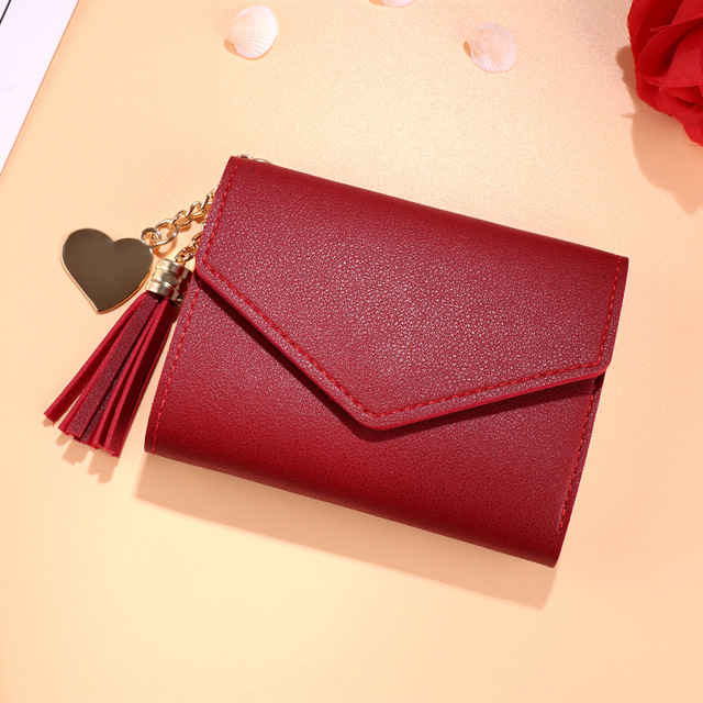 Japanese Multi-function Women's Mini Wallet Candy Color Heart-shaped Embroidery Women Short Wallet Cute Coin Purse Card Package - Цвет: Red