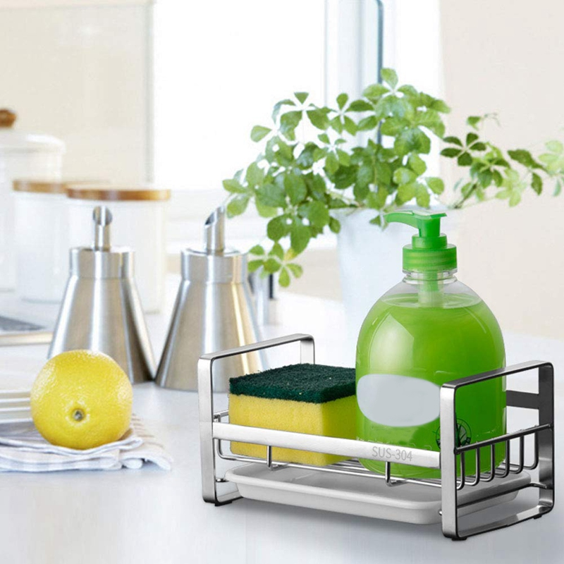 Sponge Holder, Sponge And Soap Holder For Kitchen Sink, 304 Stainless Steel Kitchen Dish Soap Caddy Tray Organizer