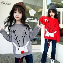 лучшая цена Baby Girls Sweater Autumn Children Christmas Deers Knitted Pullover Sweaters Toddler Kids Winter Clothes for Girl 3 6 8 12 Years