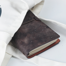 Vintage creative sky star series leather refillable traveler journal planner and notebook stationery with line graph blank sheet
