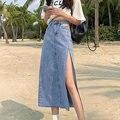 Юбка женская джинсовая трапециевидная на молнии, Повседневная Уличная одежда большого размера с завышенной талией в молодежном стиле, с од...