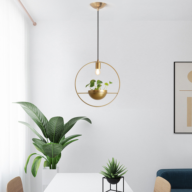 nordic pot culture pendant lamp fixture modern golden metal ring hanging light luminaire lamparas de techo