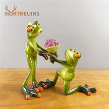NORTHEUINS 15cm Resin Proposal Send Flowers Couple Frog Figurines Modern Creative Animal Valentine's Day Present Home Desk Decor