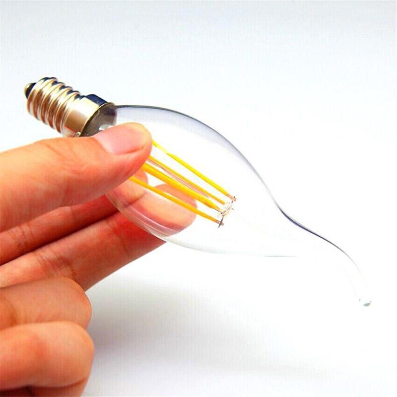 10 шт. Светодиодный светильник накаливания лампа E14 220 В 4 Вт 8 Вт 12 Вт C35 C35L лампа Эдисона Ретро старинная винтажная стильная Холодная Теплая бе...