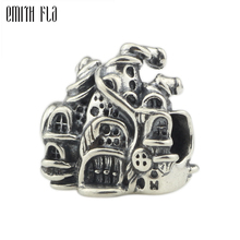 Genuine 925 Sterling Silver Magic Castle Charm Beads Fit Original Brand Bracelet Jewelry Vintage Bead for Making