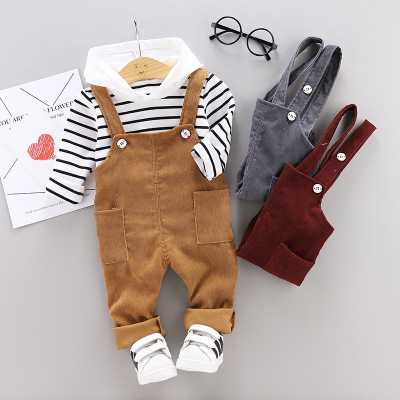 Baby Boys <font><b>Clothes</b></font> Sets Long Sleeve Striped Hooded Top + Overall Pants Toddler 2pcs Suits Baby <font><b>Girl</b></font> Outfit <font><b>Teenager</b></font> <font><b>Clothes</b></font> Suit image