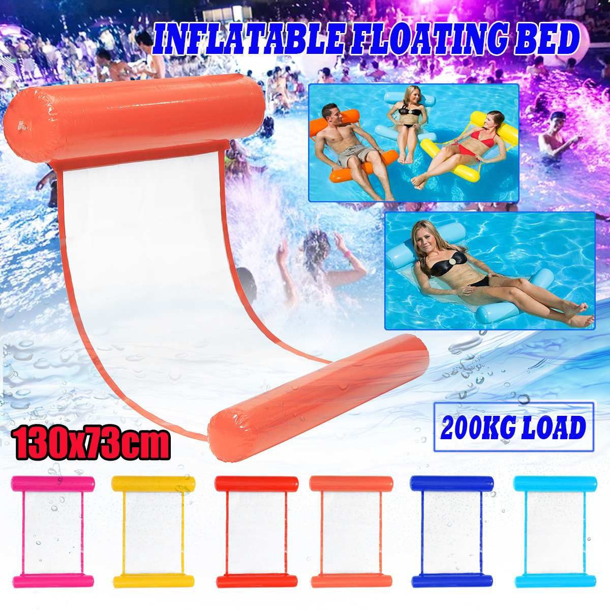 Inflatable Pool Floating Water Hammock Air Mattress Float Lounger Floating Bed Chair Swimming Pool Inflatable Hammock Bed