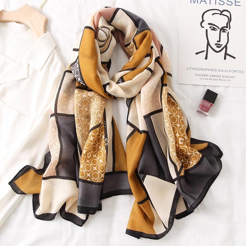 Luxury Women Brand Cotton Scarf Large Shawls Pashmina Hijab Foulard Echarpe Design Print Lady Beach Stole Head Scarves