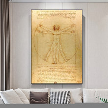 Classical Famous Painting Vitruvian Man, Study of Proportions by Leonardo da Vinci, Poster Wall Art Canvas Painting Home Decor