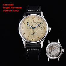 New 1963 Automatic Mechanical Watch Men 40mm Beige Pilot Wat