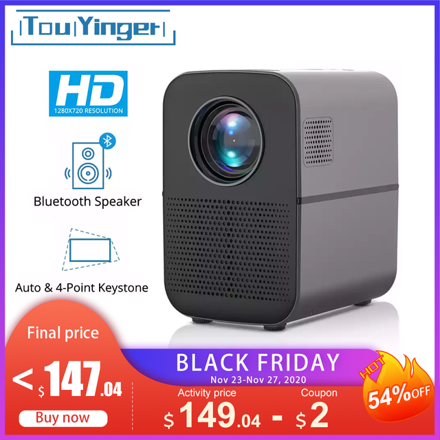 TouYinger T7 T7K HD LED Home projector Bluetooth, 1280x720 Full HD video USB beamer for Cinema, 4000 lumens Android Optional