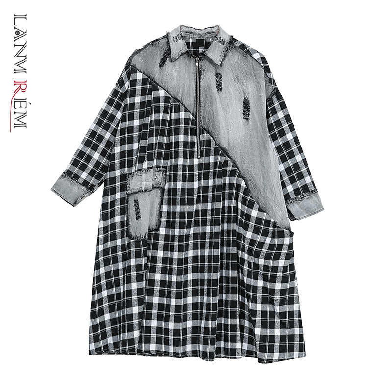 LANMREM גאות נשים בגדי 2020 אביב חדש סוודר ארוך שרוול טלאי סריג שמלות אישיות גודל גדול ארוך שרוול YH750