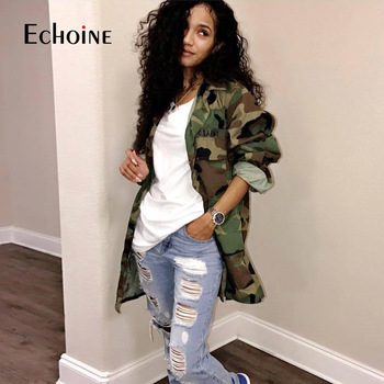 Echoine Loose Camouflage Coat Turn-Down Collar Pocket Women  Long Sleeve Button Up Casual Army Green Military Outwear Jacket camouflage zip up furry hood down waistcoat