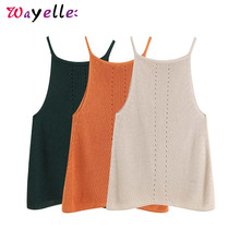 Knitted Halter Womens Blouses and Tops Sexy Solid Sleeveless Stretchy Hollow Out Women Split Basic Casual