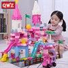QWZ-bloques de construcción de Castillo de princesa para niños, juguete de bloques de Castillo de princesa rosa, duplo, colorido, regalo de Navidad para niñas