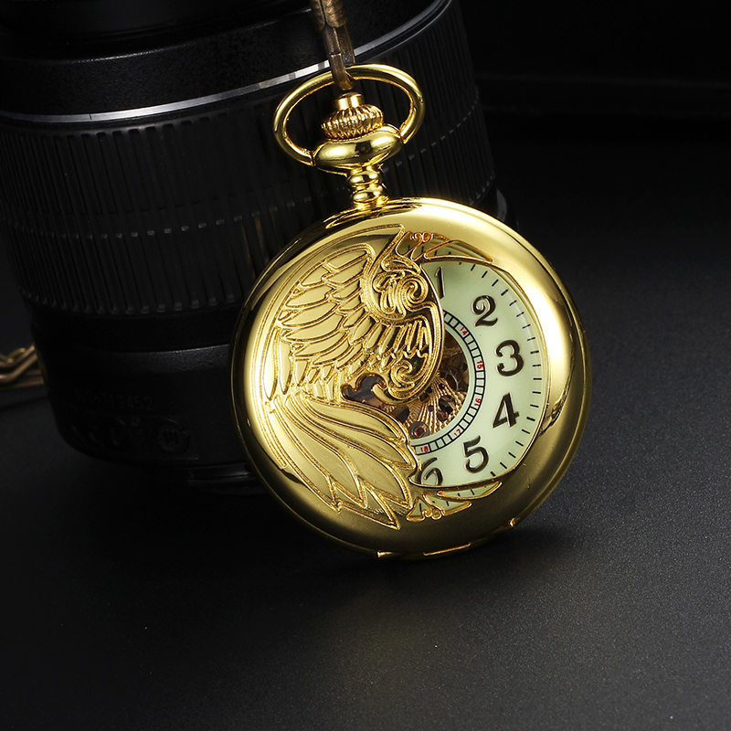 Fashion Hollow Skeleton Design MenWomen Pocket WatchTransparent Back Cover Luminous Dial Pocket Watch Automatic WindPocket Watch