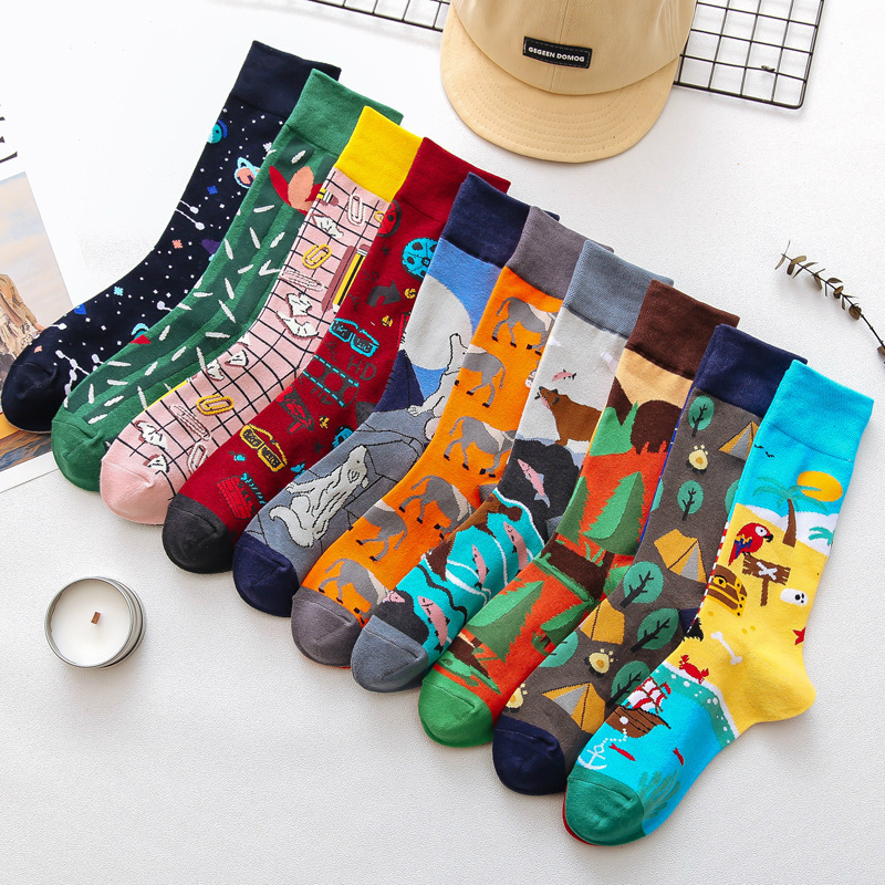 1Pair Male Crew Socks Men Casual Socks Cotton Unique Cartoon Animal Funny Cute Cool Unisex Socks Mid Length Asymmetric AB Socks