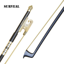 SURVEAL Professional Carbon fiber Violin Bow Natural Mongolia Horsetail Tail Arco de violino Ox Horn Frog Size: 4/4