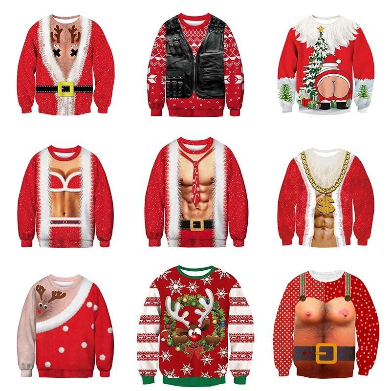 Harajuku Santa Monster Pattern 3D Pullover Christmas 3D Digital Print Streetwear Mens Sweater HipHop Women Pull Christmas Couple